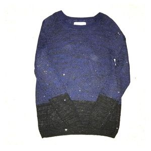Loft Sparkly Navy and Black Sweater - Size Small